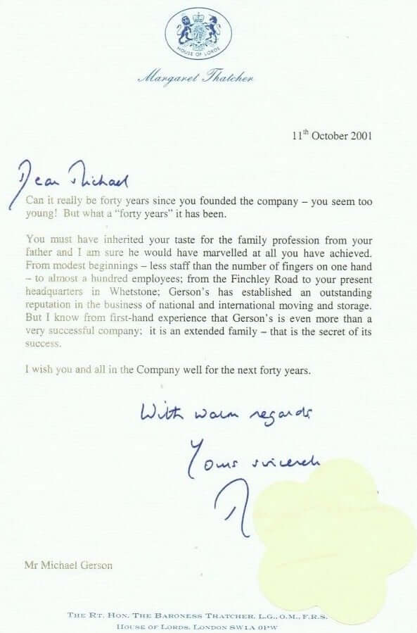Letter From Lady Thatcher