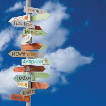 Wooden Signpost With Lots Of Different City Destinations