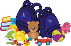 backpacks surrounded by toys