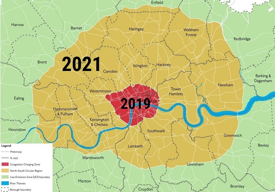London Ultra Low Emission Zones 2019 And 2021