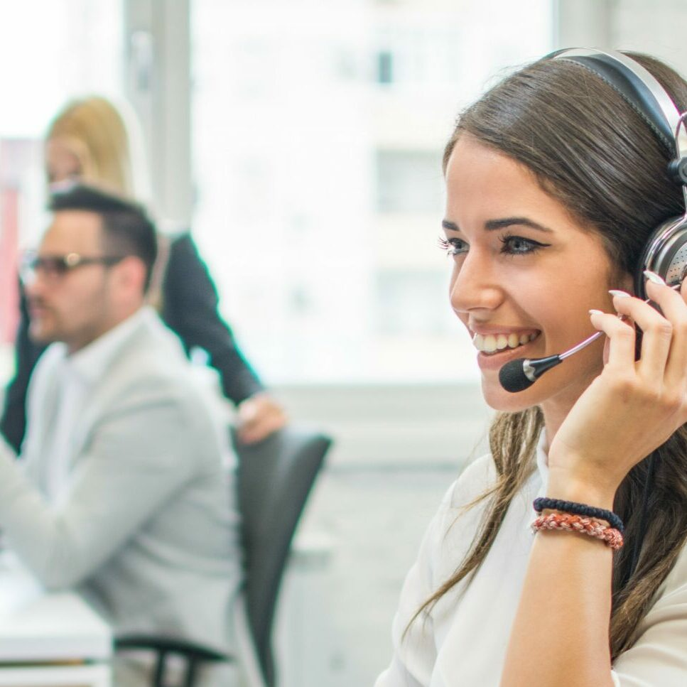 Gerson Relocation Briefing call - girl with headphones talking