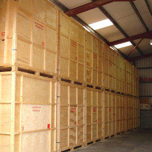 Warehouse wooden crates