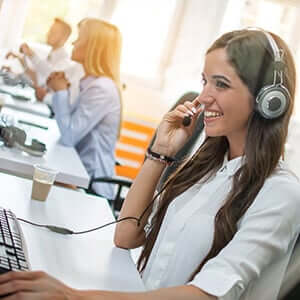 Call talking on phone with headset