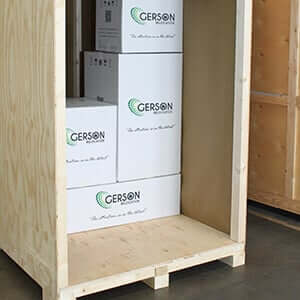 Gerson Relocation Packing boxes in storage container
