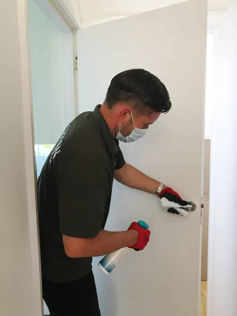 Surfaces and key contact areas are sanitized after packing