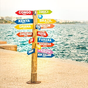 Direction sign post to lots of countries in the world