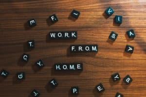 Scrabble tiles spelling work from home