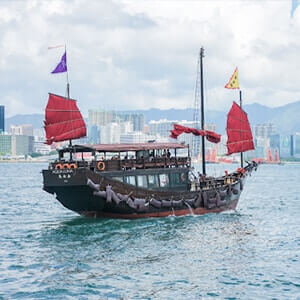 Ship with colourful sails in Hong Kong waters