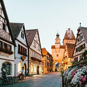 Charming road in Rothenburg, Germany
