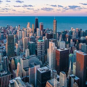 Chicago skyline overlooking Lake Michigan