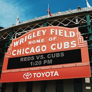 Exterior view of Wrigley Field baseball stadium in Chicago
