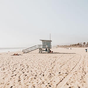 Lifeguard tower at Venice Beach, Los Angeles California on a sunny day