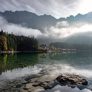 Mountain lake on a misty day in Eibsee, Grainau, Germany