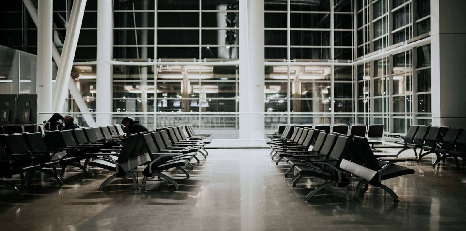 Quiet Waiting Area In Airport Terminal At Night
