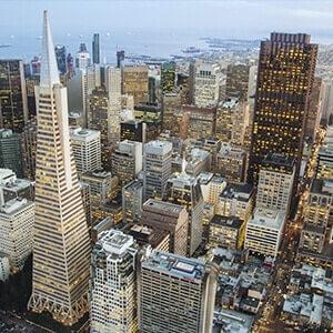 San Francisco skyscrapers at dusk