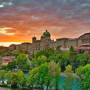 Sunset sky and Federal Palace in Bern, Switzerland