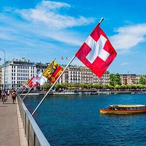 Swiss flags at the Pont du Mont Blanc bridge in Geneva