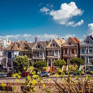The famous seven sister houses in San Francisco, California