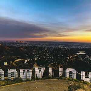 View of Los Angeles from the Hollywood hills above the famous Hollywood sign