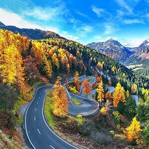 View of Maloja pass road in Switzerland
