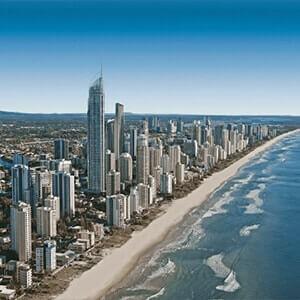 Stretch of beach along the Golden Coast, Australia