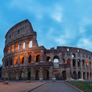An early morning shot of the Colosseum in Rome with no people in sight