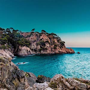 Marbella in Spain, beautiful cliffs and crystal-clear water