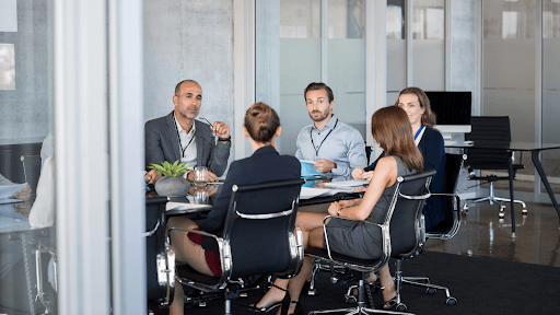 Team Of Employees Having A Corporate Meeting