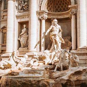 The Trevi Fountain in Rome in the sun